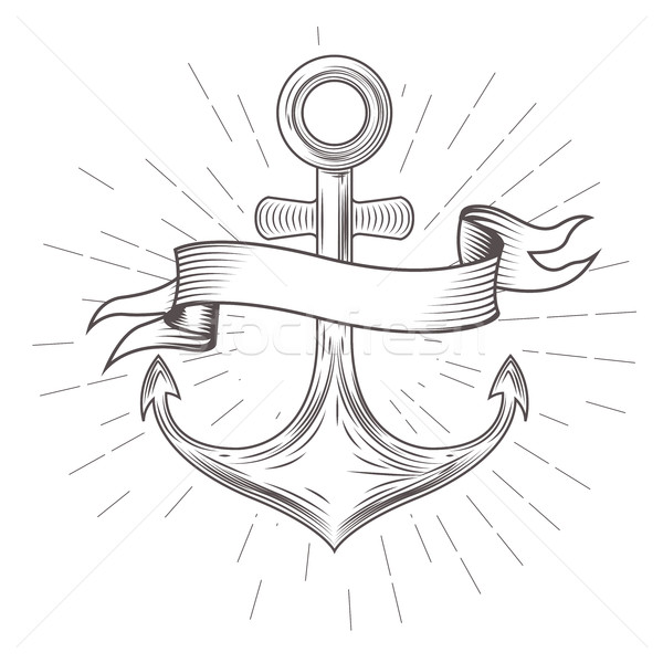 Emblem with vintage anchor and wavy banner Stock photo © gomixer