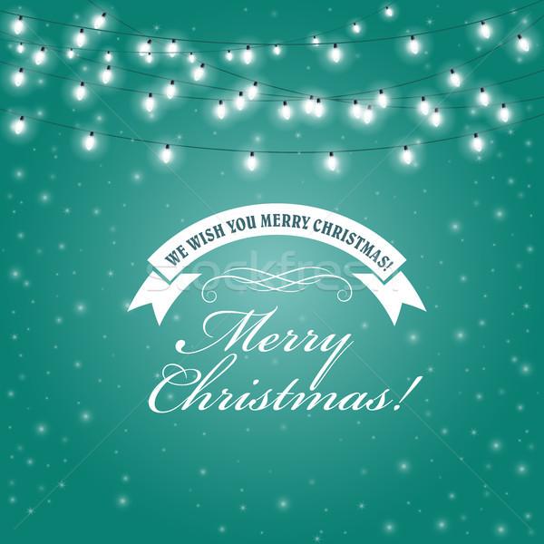 Christmas Lights frame - festive lights garlands greeting card Stock photo © gomixer