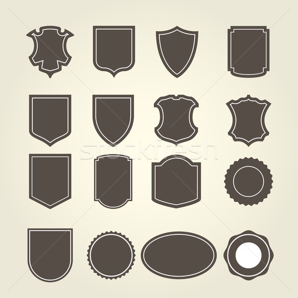 Set of shield in different shapes - shield-emblems and blazons Stock photo © gomixer