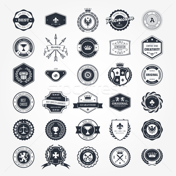 Emblems, badges and retro seals set - blazons and labels Stock photo © gomixer