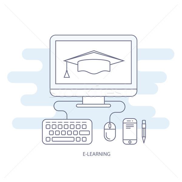 Online oktatás ikon távoli oktatás vizsgálat egér Stock fotó © gomixer