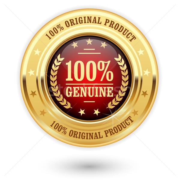 100 pour cent véritable produit or insigne Photo stock © gomixer