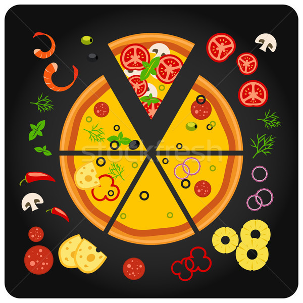 Pizza ingredients - top view of pizza with components Stock photo © gomixer