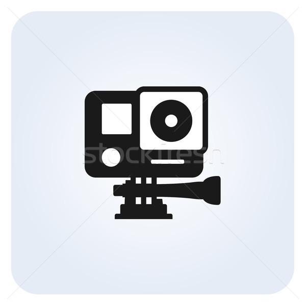 Egyszerű tevékenység kamera ikon sport videó Stock fotó © gomixer