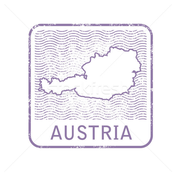 Stamp with contour of map of Austria - contour of Austria Stock photo © gomixer