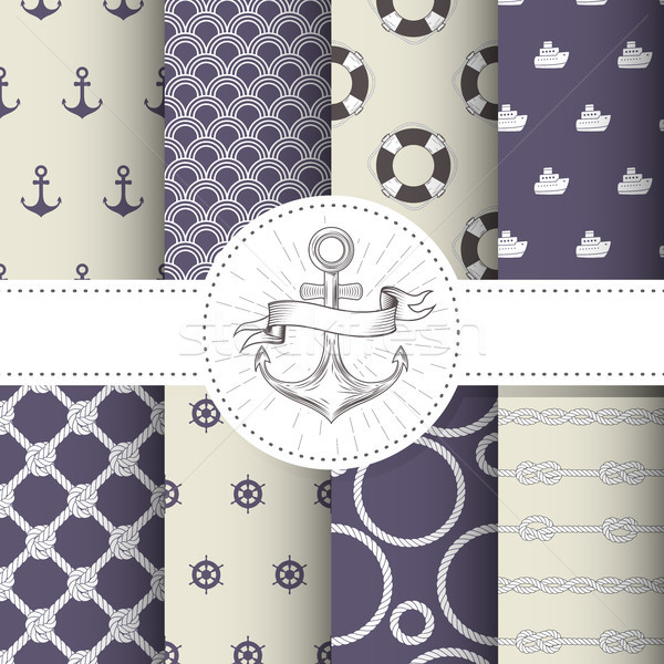 Set of marine and nautical backgrounds - sea theme seamless patt Stock photo © gomixer