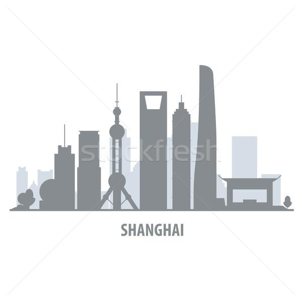 Shanghai city skyline - cityscape silhouette with landmarks Stock photo © gomixer