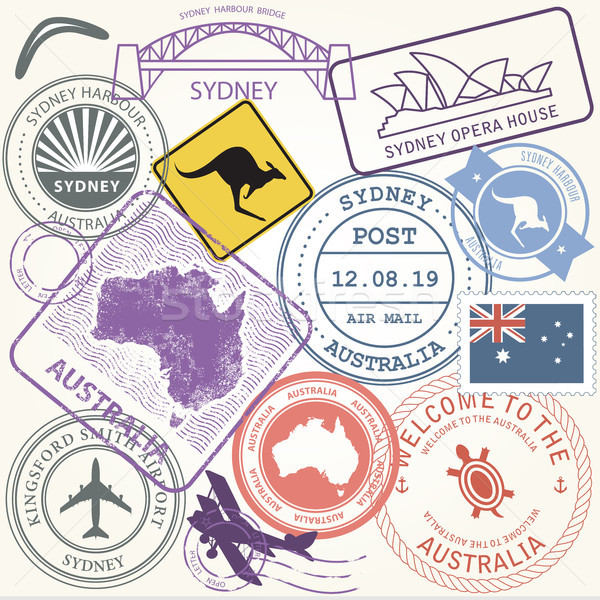 Stock photo: Australia travel stamps set with landmark of Sydney - journey sy