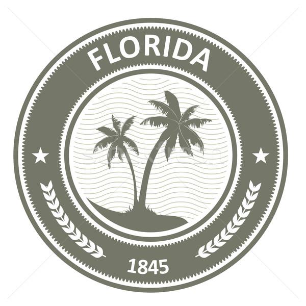 Флорида штампа Label пальмами путешествия пальма Сток-фото © gomixer