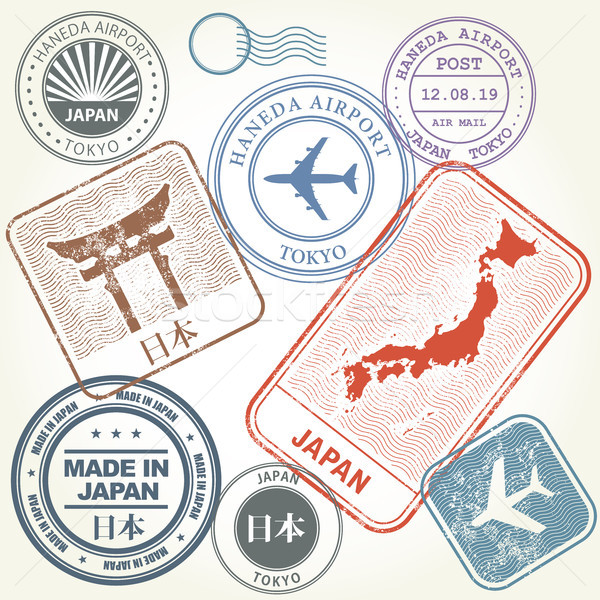 Stock photo: Travel stamps set Japan and Tokyo theme (with inscription Japan