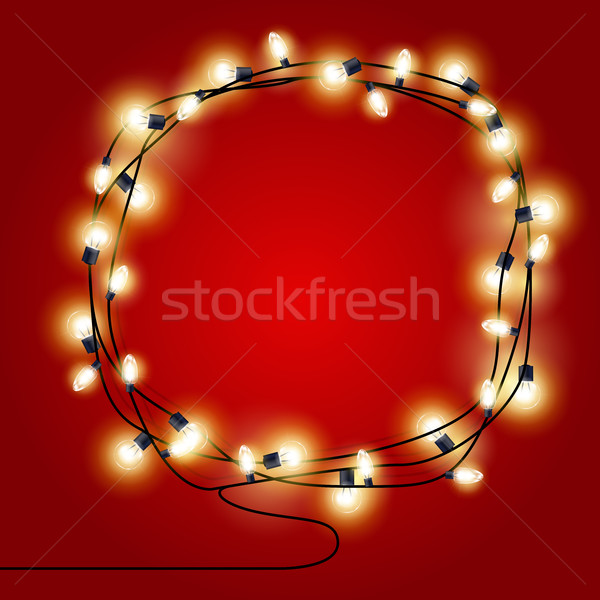 Frame of shining Christmas Lights garlands - new year poster Stock photo © gomixer