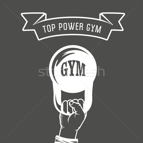 Iron weight in hand - weightlifting gym poster Stock photo © gomixer