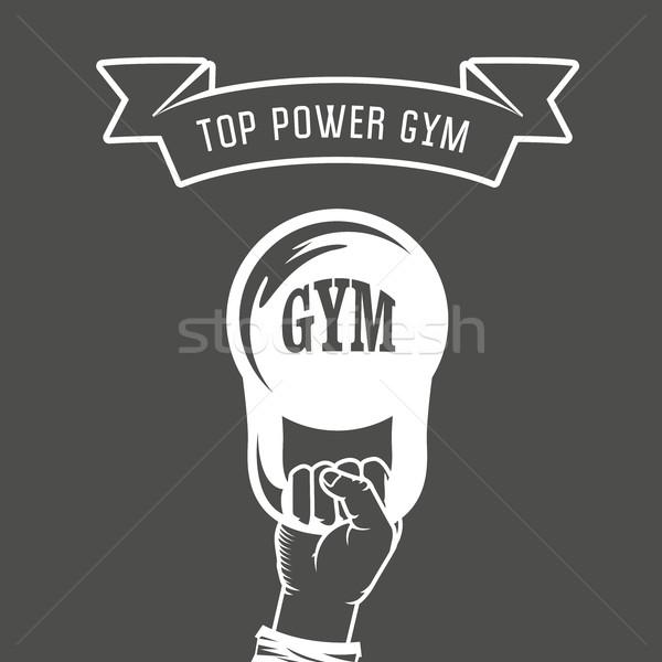 Fer poids main haltérophilie gymnase affiche Photo stock © gomixer