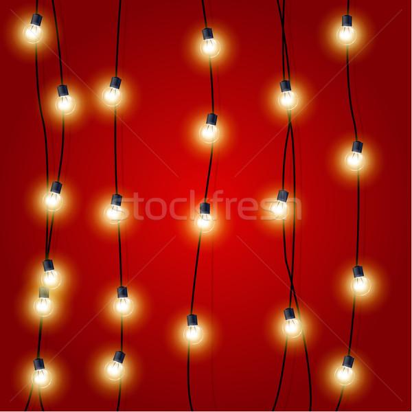 Colgante vertical Navidad luces luz rojo Foto stock © gomixer