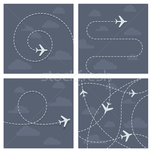 Plane flight with dotted trace of the airplane Stock photo © gomixer