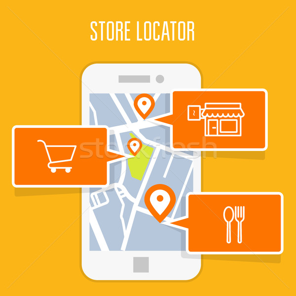 Store locator tracker app and mobile gps navigation  Stock photo © gomixer