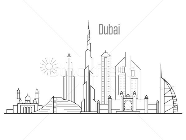 Dubai Cityscape budynku dłoni Zdjęcia stock © gomixer