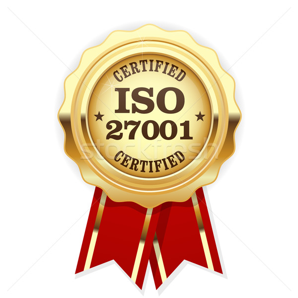 ISO 27001 standard certified rosette - Information security mana Stock photo © gomixer