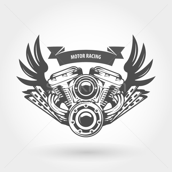 Winged motorcycle engine emblem - chopper bike motor Stock photo © gomixer
