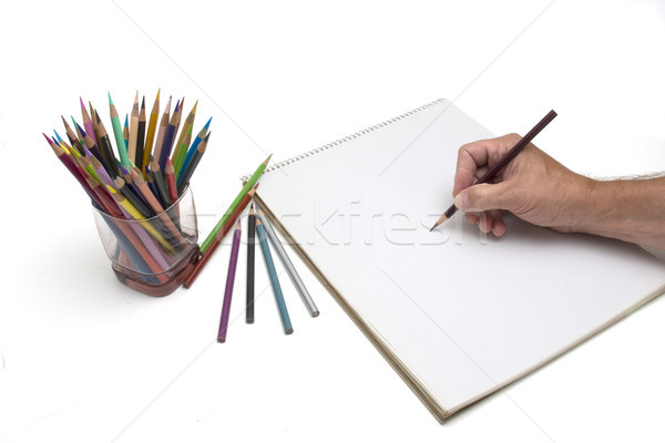 художник рисунок карандашей карандашом синий Сток-фото © Gordo25