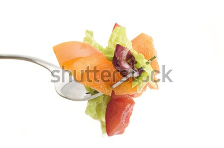 Foto stock: Salada · garfo · foco · primeiro · plano · verde · tomates