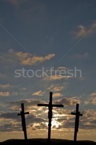 İsa çapraz gün batımı gökyüzü ışık renk Stok fotoğraf © Gordo25