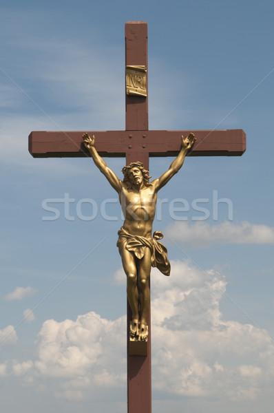 Gesù cross nubi cielo blu cielo luce Foto d'archivio © Gordo25