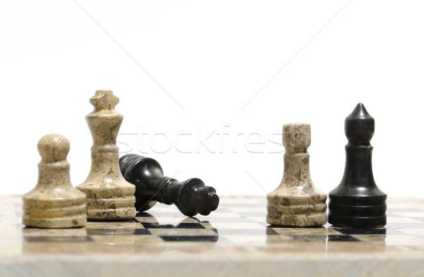 Foto stock: Xadrez · foco · esportes · equipe · escuro · branco