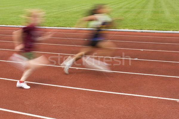 Racing track twee schoenen Stockfoto © Gordo25