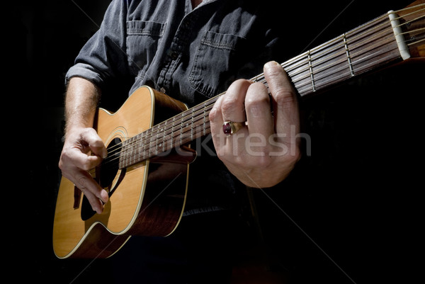 Violão músico alto contraste foto jogar Foto stock © Gordo25