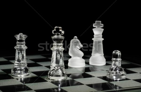 Sakk befejezés kevés sakkfigurák sport csapat Stock fotó © Gordo25