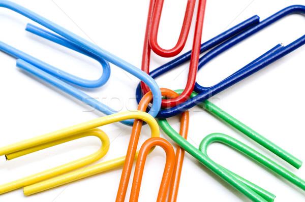 Macro Colored Paper Clips Stock photo © Gordo25