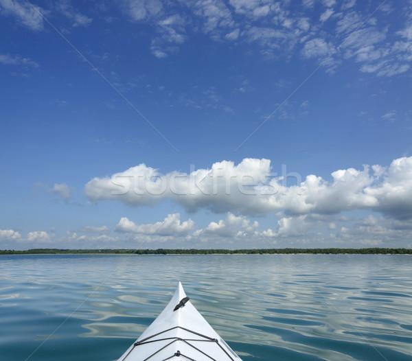 Kajak meer ontario exemplaar ruimte blauwe hemel groot Stockfoto © Gordo25