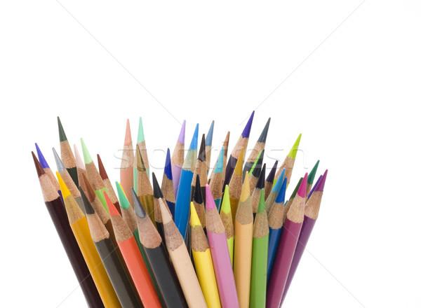 Meervoudig gekleurd potloden veel witte hout Stockfoto © Gordo25