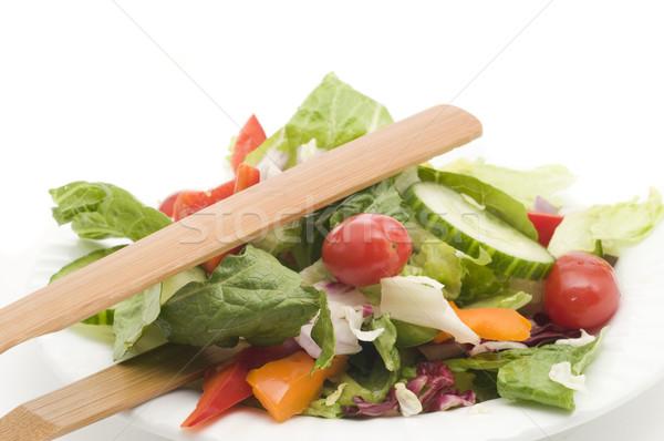 Tuin salade witte kom groene diner Stockfoto © Gordo25