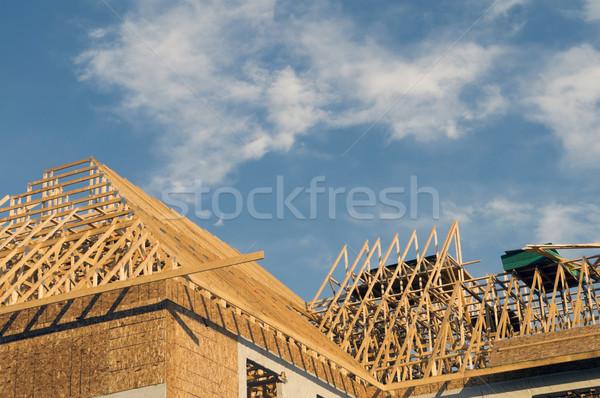Edifício construção quadro grande cópia espaço blue sky Foto stock © Gordo25