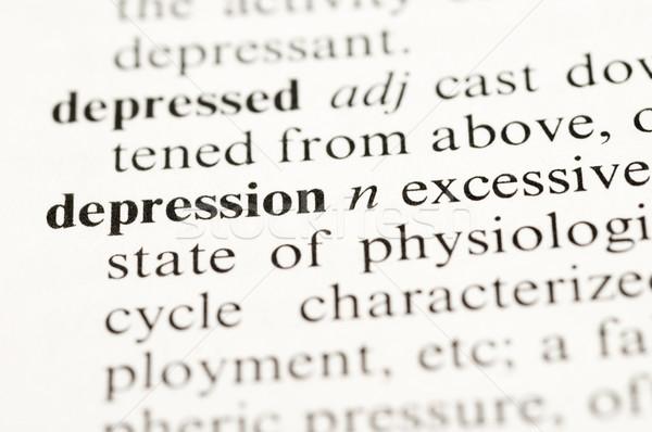Depressie selectieve aandacht woordenboek woord boek medische Stockfoto © Gordo25