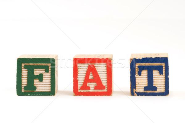 Palavra gordura crianças ortografia saúde Foto stock © Gordo25