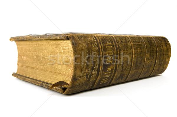 Библии белый антикварная книга кожа Сток-фото © Gordo25