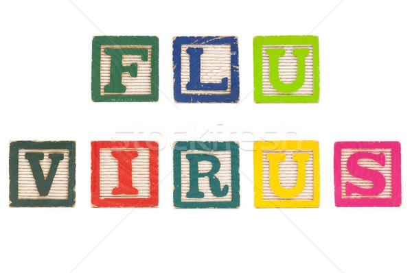 грипп вирус слово лице блоки изолированный Сток-фото © Gordo25