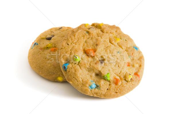 Twee snoep chip cookies witte selectieve aandacht Stockfoto © Gordo25