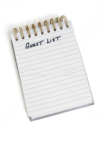 Foto stock: Convidado · lista · lembrete · pessoas · papel · trabalhar
