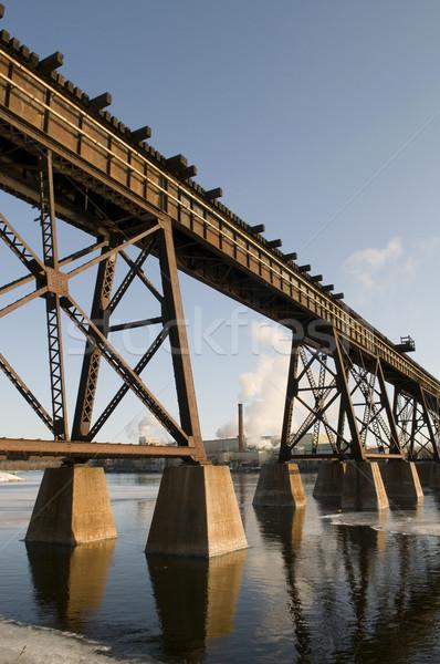 Fabriek rivier trein brug voorgrond water Stockfoto © Gordo25