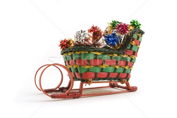 Mikulás szánkó miniatűr tele ajándékok izolált Stock fotó © Gordo25