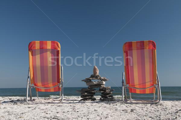 сидят два стульев озеро Онтарио Сток-фото © Gordo25