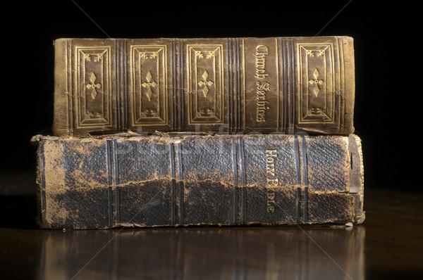 Foto stock: Antigo · livros · bíblia · igreja · serviço · madeira · velha