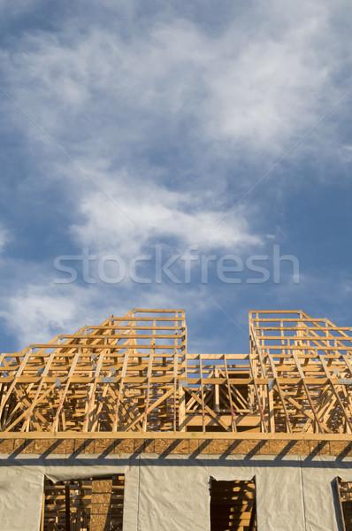 Bouw hout groot gebouw exemplaar ruimte blauwe hemel Stockfoto © Gordo25