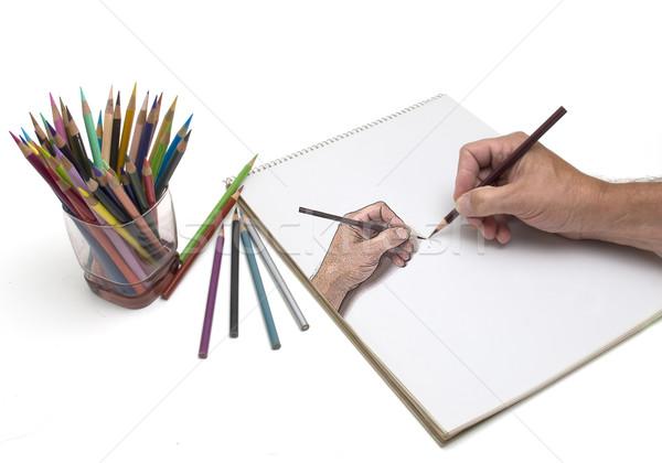 Hand tekening kunstenaar illustratie eigen Stockfoto © Gordo25