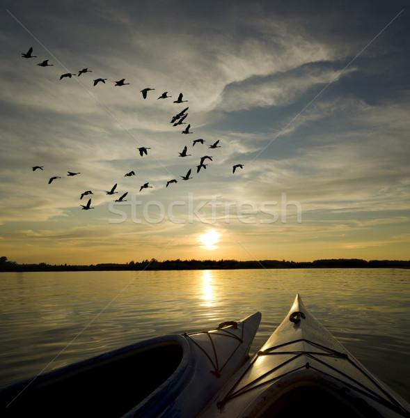 Kayaks on Lake Ontario Sunset Stock photo © Gordo25