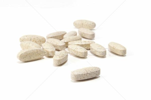 Focus vitaminen selectieve aandacht voorgrond vitamine witte Stockfoto © Gordo25
